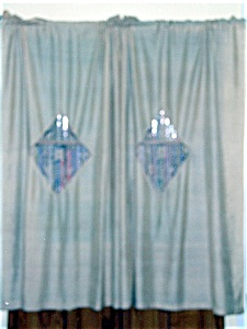 Pair of Vintage Silk Curtains with Lace Inserts