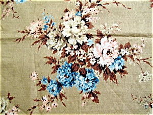 Vintage Barkcloth Fabric  Pink and Blue Flowers