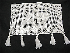 Vintage Filet Crochet with Tassels