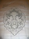 Vintage Bed Cover with Filet Lace Figural Medallions