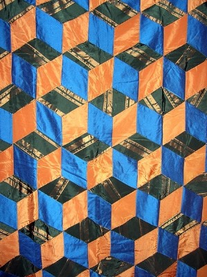 Antique Orange and Blue Tumbling Blocks Quilt with Prairie Points
