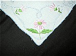 Vintage Hand Embroidered Tablecloth with Pink Flowers