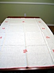 Vintage Tablecloth and Napkins with Embroidered Red Flowers