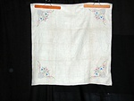 Vintage Linen Tablecloth with Embroidered Urns of Flowers and Napkins