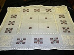 Vintage Sheer Tablecloth with Filet Lace and Embroidery