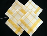 Vintage Set of 4 Linen Yellow Plaid Damask Napkins