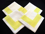 Set of 4 Vintage Linen Napkins with Printed Yellow Border