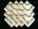 Set of 12 Printed Napkins with Green Flowers