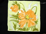 Single Vintage Printed Vera Napkin Orange Flower
