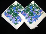 Pair of Vintage Printed Vera Napkins with Blue Flowers