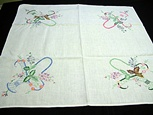 Vintage Linen Bridge Cloth with Baskets of Flowers