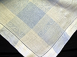Vintage Linen Damask Tablecloth with Blue Borders