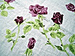Vintage Linen Printed Tablecloth with Pink Roses by Luther Travis