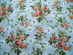 Antique Fabric Sample Flowers on Blue