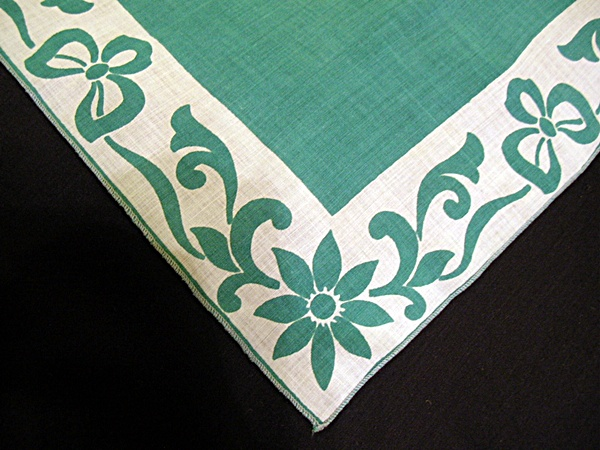 Vintage Printed Handkerchief with Green Flowers and Field