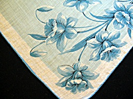 Vintage Printed Handkerchief with Blue Daffodils
