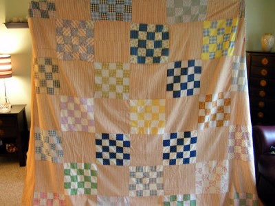 Vintage Quilt Top with Lots of Plaids and Homespun